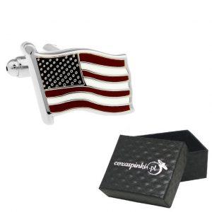 Spinki do mankietów Flagi USA srebrne