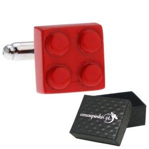 Spinki do mankietów Klocki Lego czerwone