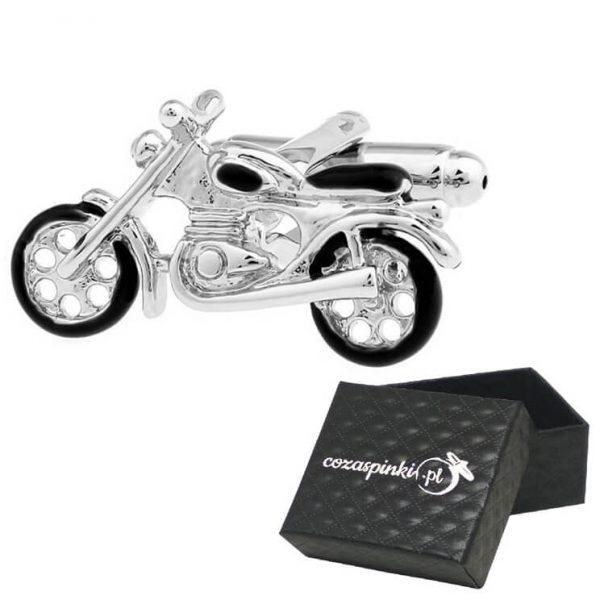 spinki do mankietów motocykl srebrne 1