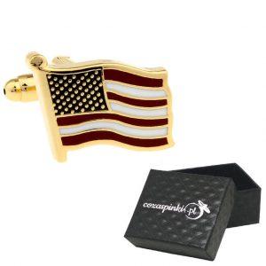 Spinki do mankietów Flagi USA złote