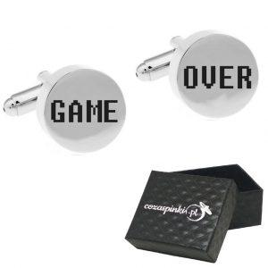 Spinki do mankietów Okrągłe srebrne GAME OVER