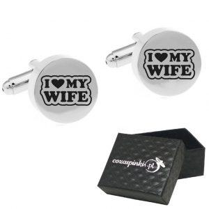 Spinki do mankietów Okrągłe srebrne I LOVE MY WIFE