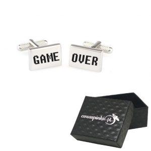 Spinki do mankietów prostokątne z grawerem GAME OVER