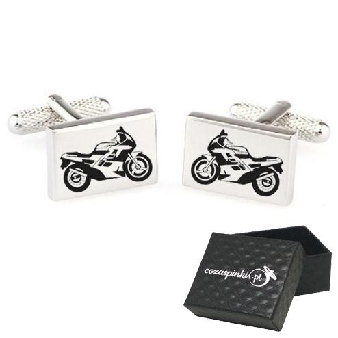 Spinki do mankietów prostokątne z grawerem motocykle