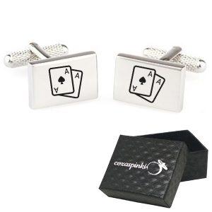 Spinki do mankietów prostokątne z grawerem karty ASY