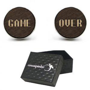 Spinki do mankietów okrągłe z grawerem GAME + OVER