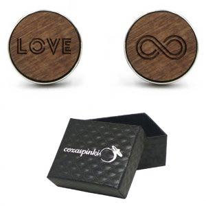 Spinki do mankietów okrągłe z grawerem LOVE + NIESKOŃCZONOŚĆ